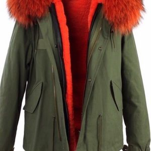 Jackets & Blazers - Army green canvas coat with fur lining